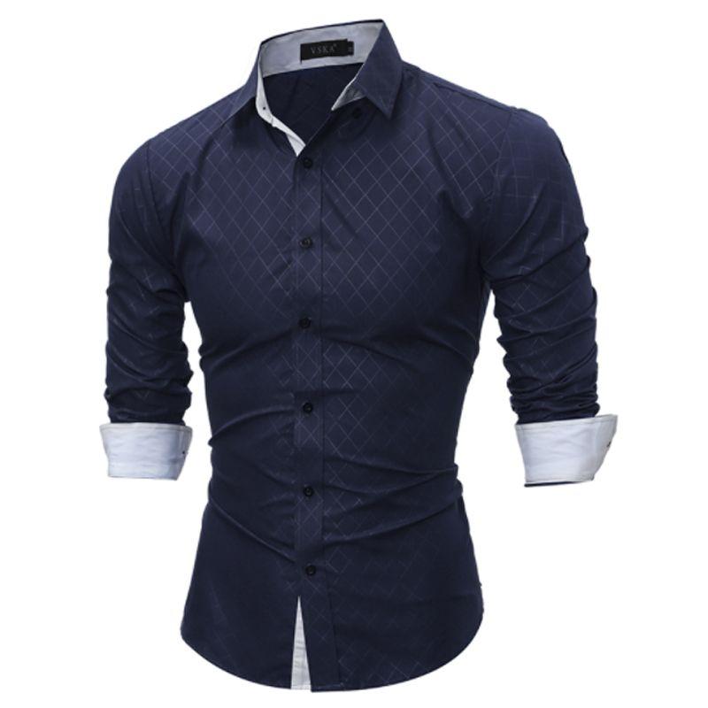 Neue 2017 Casual Modemarke Casual Langarm-shirt Männer Shirts Slim Fit Grid Kleid Shirt Männer Camisa Masculina FYA