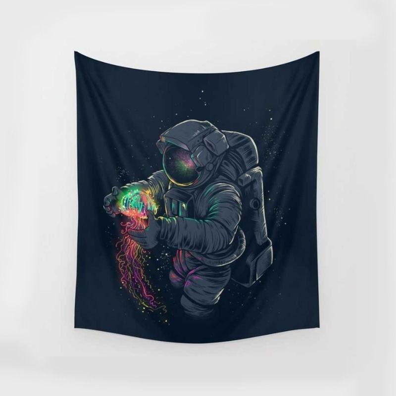 Lion D'oeil D'oiseaux Floral Astronautes Tapisseries Coloré Psychédélique tapisserie indienne tenture Imprimé Décoration