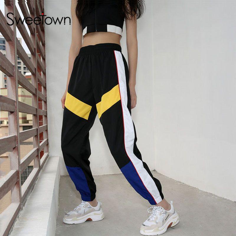 Sweetown Woman Pencil Pants Casual Loose <font><b>Pantalon</b></font> Femme Spliced Panelled Joggers Women Woven Elastic High Waist Ladies Trousers