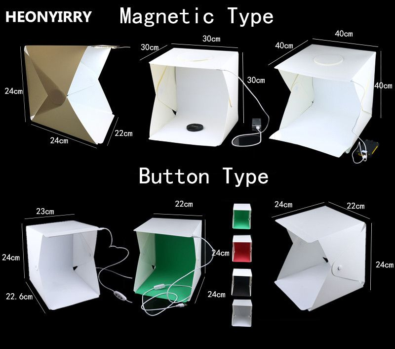 Portable Folding Studio Diffuse Soft Box With LED Light Black White Photography Background Photo Studio box