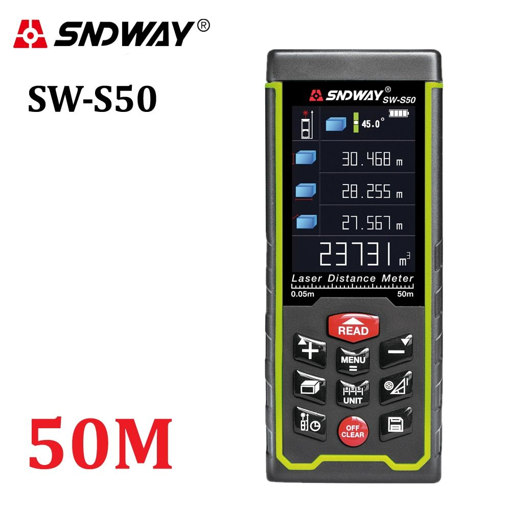 SNDWAY Color display 50m 164ft Digital rechargeable Laser Rangefinder laser distance meter measure tools free shipping