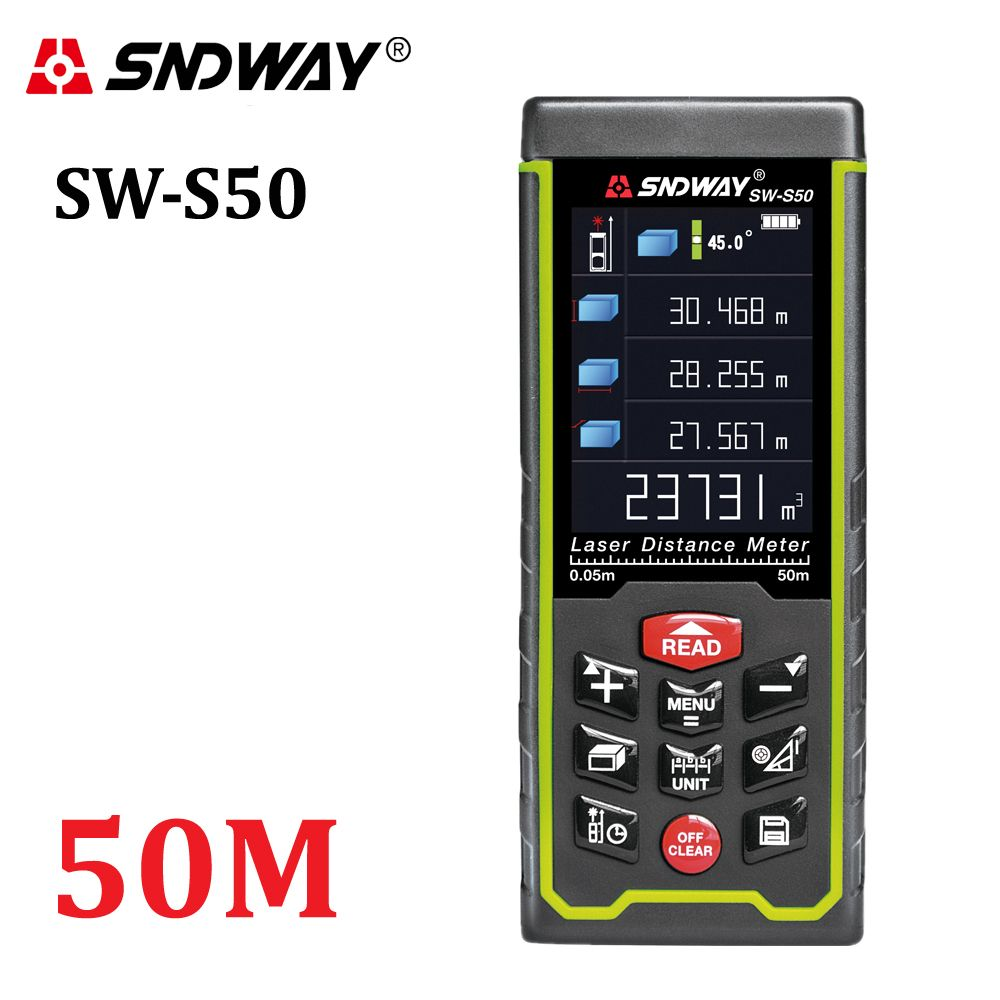 SNDWAY Color display 50m 164ft Digital rechargeable Laser <font><b>Rangefinder</b></font> laser distance meter measure tools free shipping