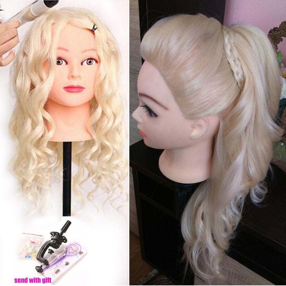 40% vrais cheveux humains 60 cm tête d'entraînement blonde pour Salon de coiffure Mannequin poupées tête de coiffure professionnelle peut être enroulée