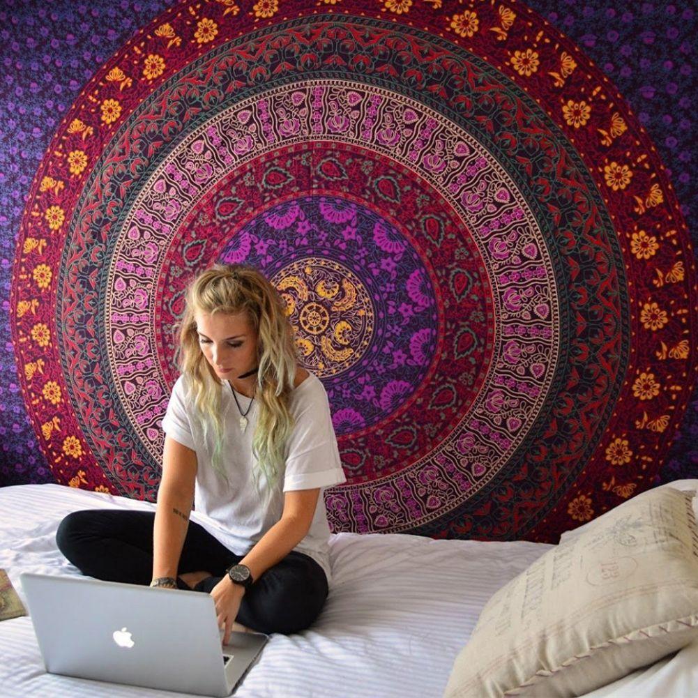Enipate Grand Mandala Indien Tapisserie Tenture Bohème Plage Serviette Polyester Mince Couverture De Yoga Châle Tapis 180x146 cm couverture