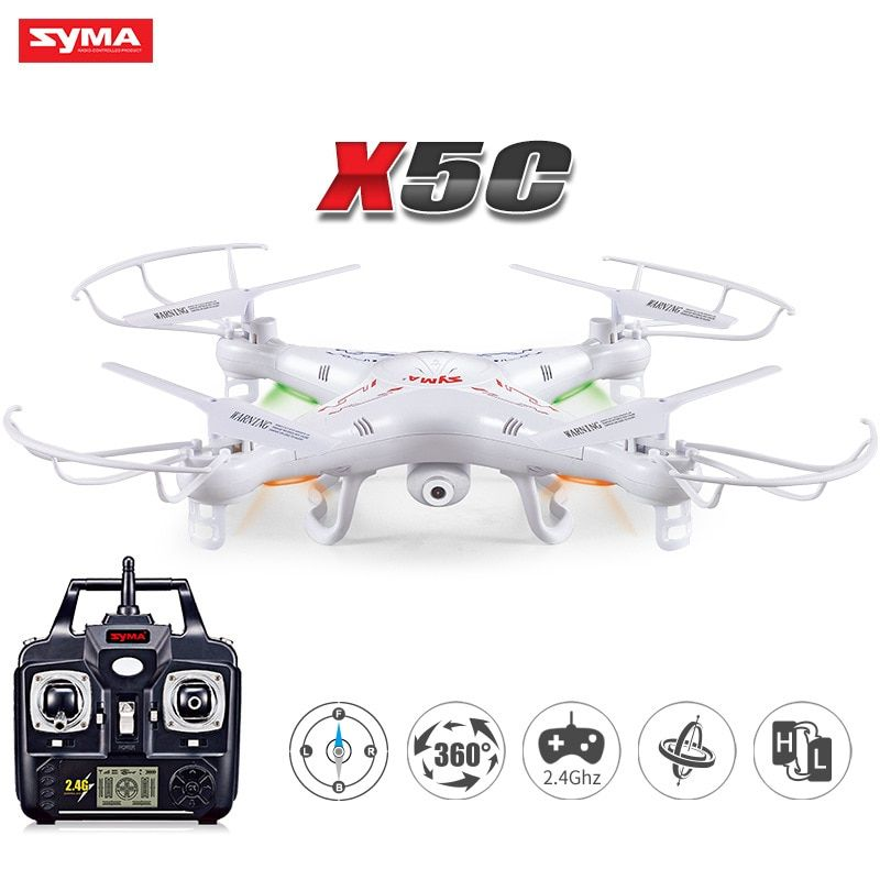 SYMA X5C RC Drone Headless RC Helicopter 2.4G 4CH 6-Axis Remote Control Helicopter Quadcopter With 2MP HD Camera