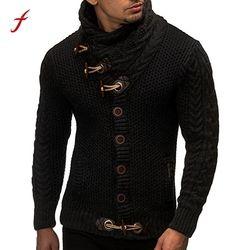 2017 NEW Men sweater long Sleeve Autumn Winter Casual Turtleneck Solid Cardigan Sweater Coat Knitting Sweater Coats