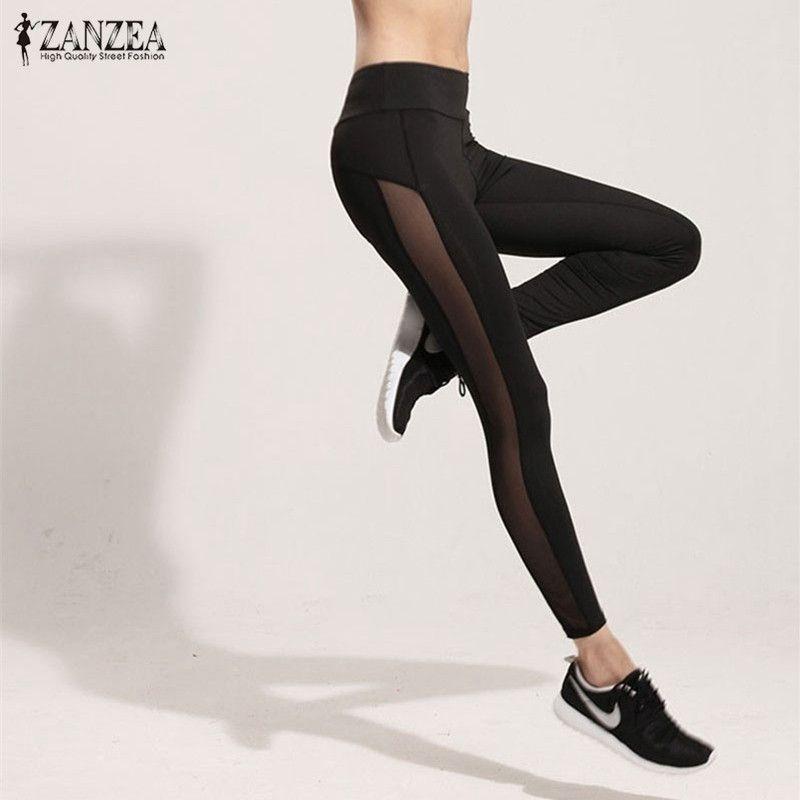 ZANZEA Mujeres Leggings 2017 Del Acoplamiento Del Verano Patchwork Negro Pantalones de Cintura Alta Pantalones Ocasionales Delgados Leggings de Fitness de Entrenamiento Más El Tamaño