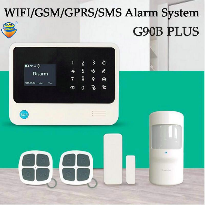(1Set)Latest G90B PLUS WIFI SMS GSM Wireless Home Security Alarm System Support Android/IOS App control PIR detector Door Sensor