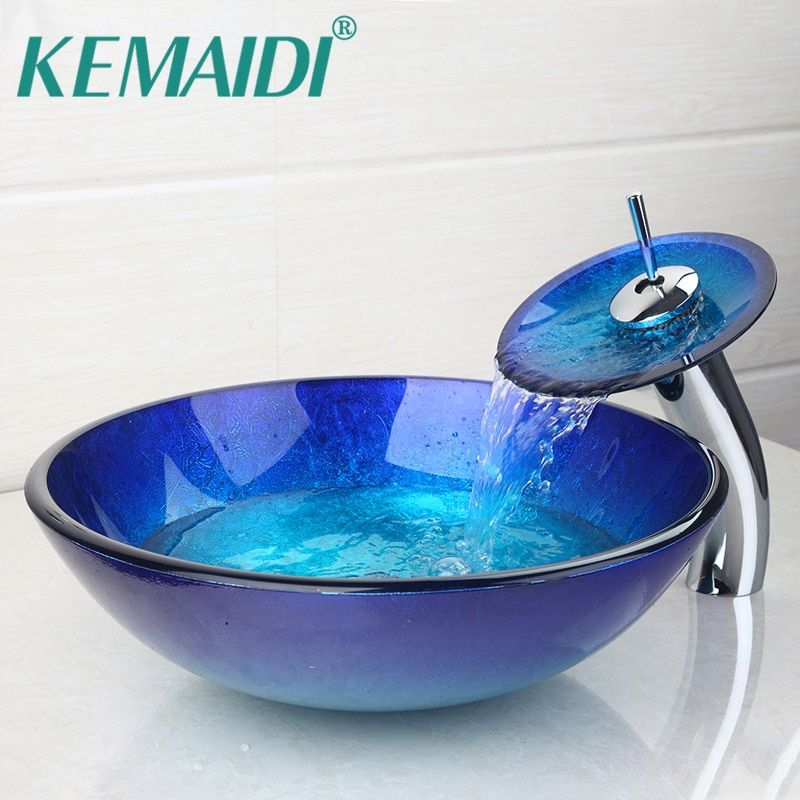KEMAIDI AU Bathroom Round Bule Tempered Glass Oval Wash Basin W/ORB brushed Faucet Sink Combo Set + Pop Up Sink Drain