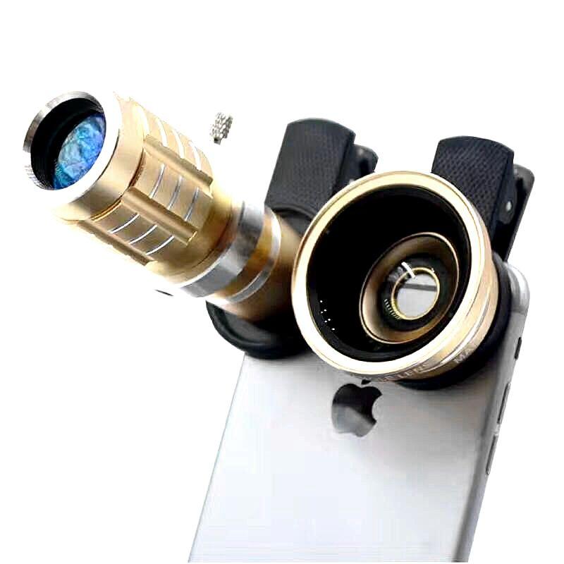 HD 3 en 1 Mobile Téléphone Lentille 12x Zoom Optique Téléobjectif + 0.45X Grand Angle + Macro lentille Avec Trépied pour le Téléphone Iphone 5 6 7