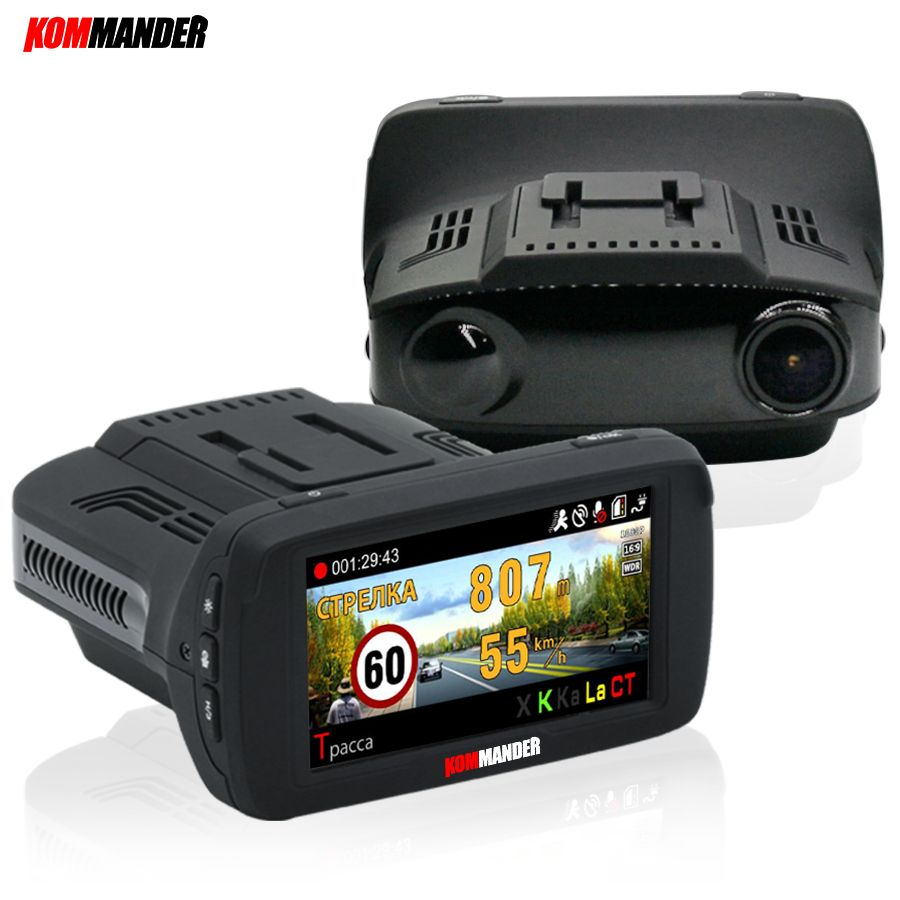 Kommander Ambarella Car DVR Camera Radar Detector GPS 3 in 1 LDWS FHD 1296P Video Loop recording Dashcam Russian Language