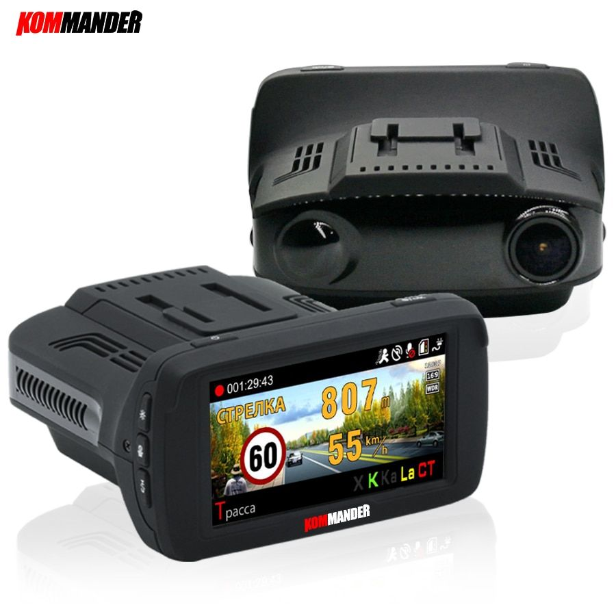 Kommander Ambarella Car DVR Camera Radar <font><b>Detector</b></font> GPS 3 in 1 LDWS FHD 1296P Video Loop recording Dashcam Russian Language