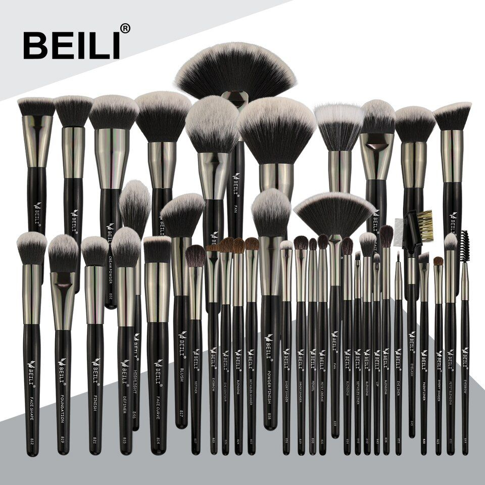 BEILI 40 stück Luxus schwarz professional make-up pinsel set Big pinsel Powder foundation blending ziegenhaar make-up pinsel