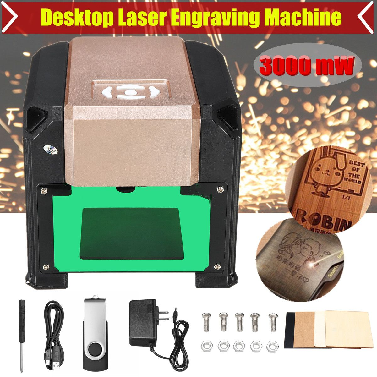 3000 mw USB Desktop Laser Gravur Maschine DIY Mark Drucker Cutter Holz Router CNC Laser Carving Maschine Stecher Palette 80 x 80mm