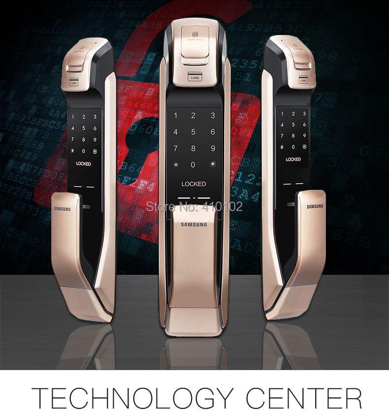 SAMSUNG English Version SHS-DP728 Keyless Bluetooth Fingerprint PULL PUSH Digital Door Lock Black Golden or Black Sliver
