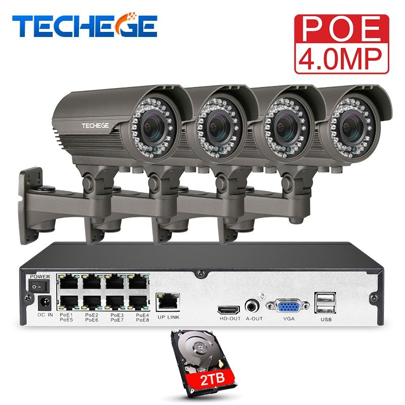 Techege H.265 8CH POE System 2.8-12mm Manual Lens 4.0MP IP Camera 2560*1440 Waterproof Outdoor Video Security Surveillance Kit