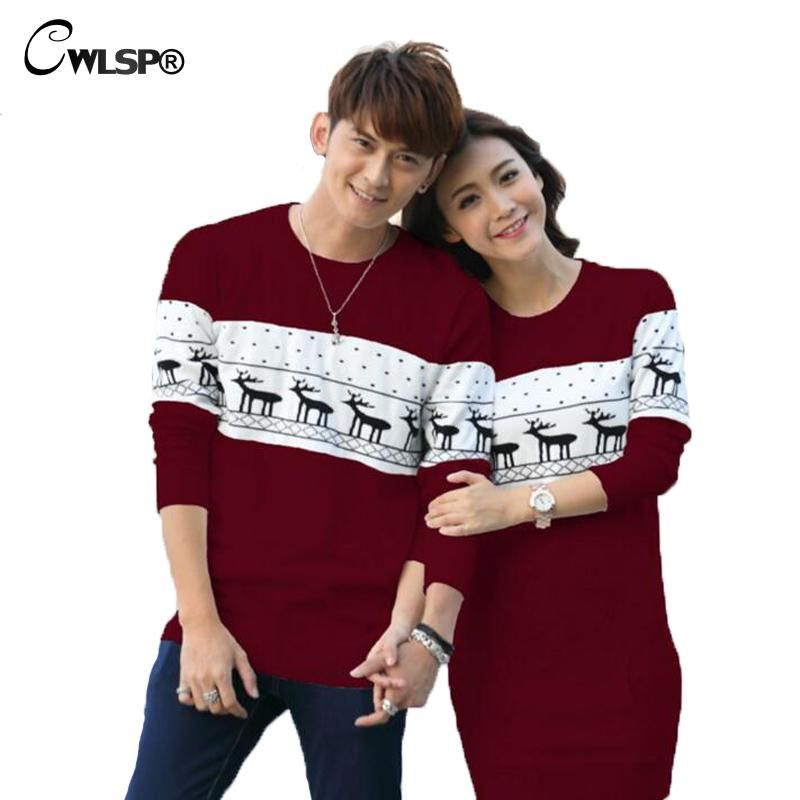 CWLSP Best Gift for Valentine's Day Christmas Deer knitted Couples Sweater Dress Spring Autumn Lover Women's Sweater Pullovers