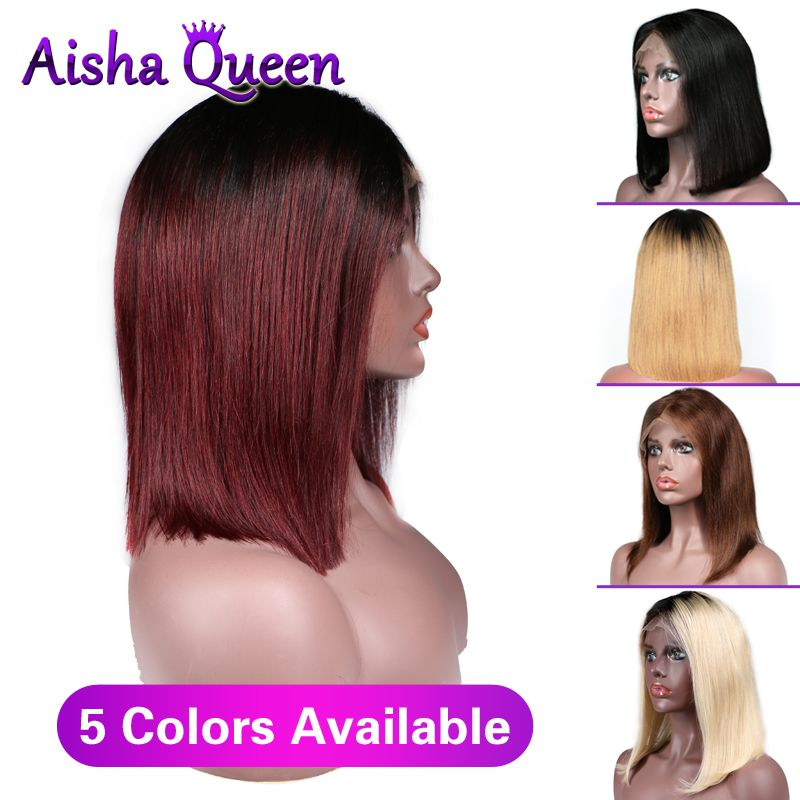 Lace Front Human Hair Wigs Short Bob Wigs Brazilian Remy Hair Straight For Black Women Bleached Knots Ombre Straight