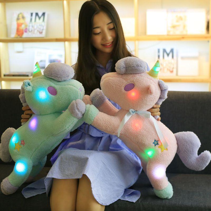 Le nouveau 55 cm grand super mignon lumière coloré en peluche jouet Licorne oreiller lumière Ameublement décoration bureau de couchage oreiller