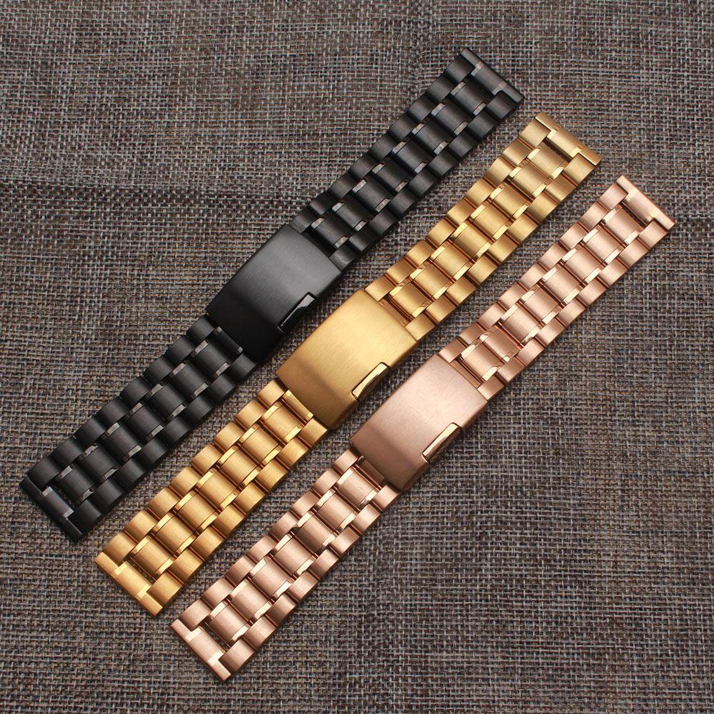 Watchstrap 18 мм 20 мм 22 мм 24 мм Black Metal Матовый часы браслет Нержавеющаясталь ремешок флип пряжки замка Быстрая доставка 2017