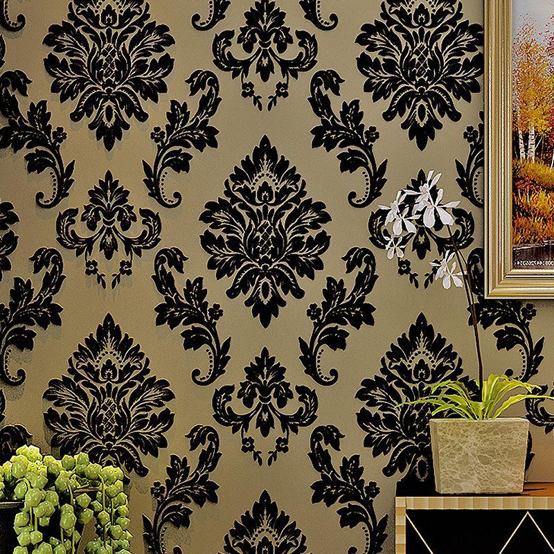 3D Stereoscopic Velvet European Style Black Damascus Non-woven Flocking Wallpaper For Living Room Bedroom Background Wallpaper