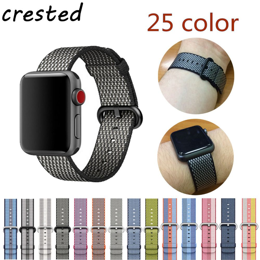 CRESTED Woven Nylon band strap for apple watch band 42mm 38 mm sport bracelet watchband for iwatch band 38mm 3/2/1 black red