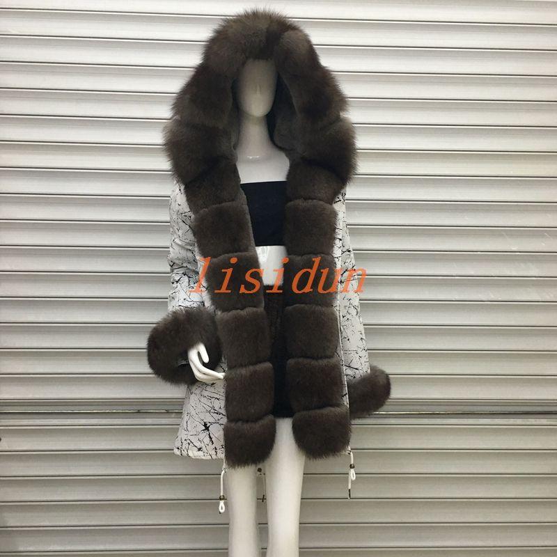 2018 fox fur coat, coat, dress, women's clothing, long hair liner, Parker, and otter rabbit fur new fur