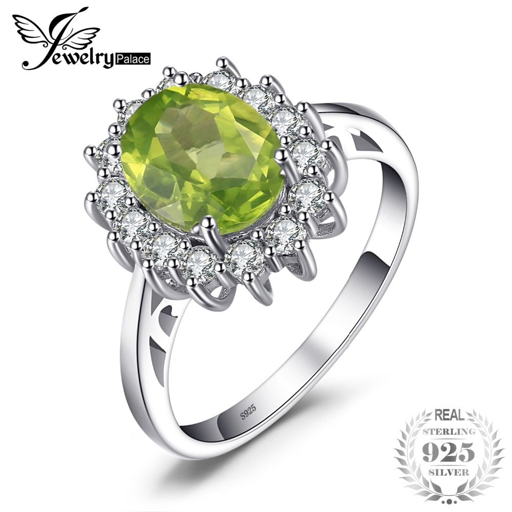 JewelryPalace 2.74ct Princess Diana William Kate Middleton's Natural Green Peridot Engagement Ring 925 Sterling Silver For Women