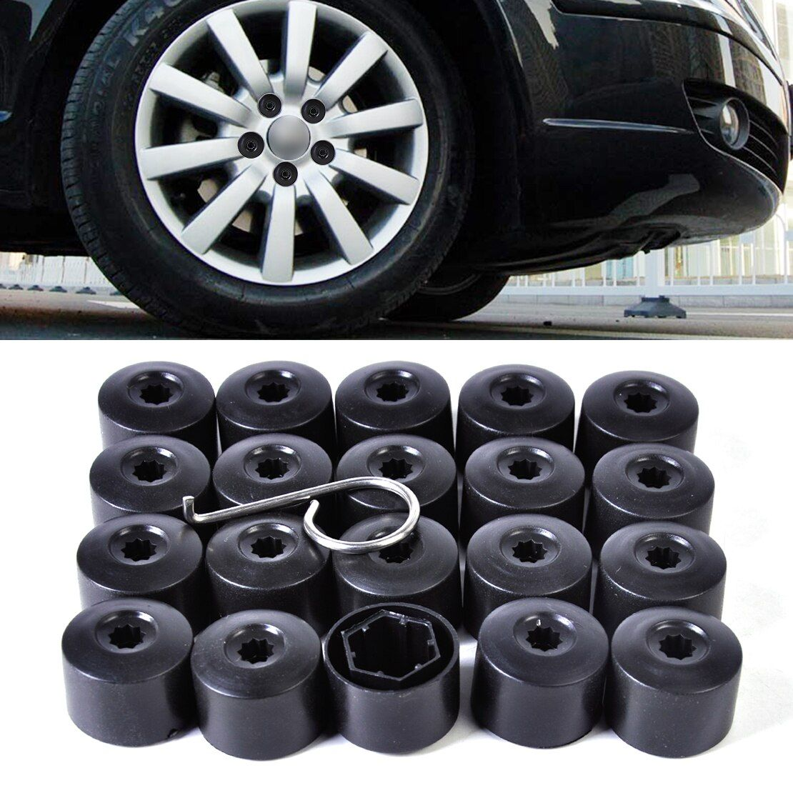 DWCX Anti-theft Wheel Lug Bolt Center Nut Covers Caps 1K0601173, 3C0601173 for VW Jetta Golf MK5 Passat B6 POLO Fox-EU Pheaton