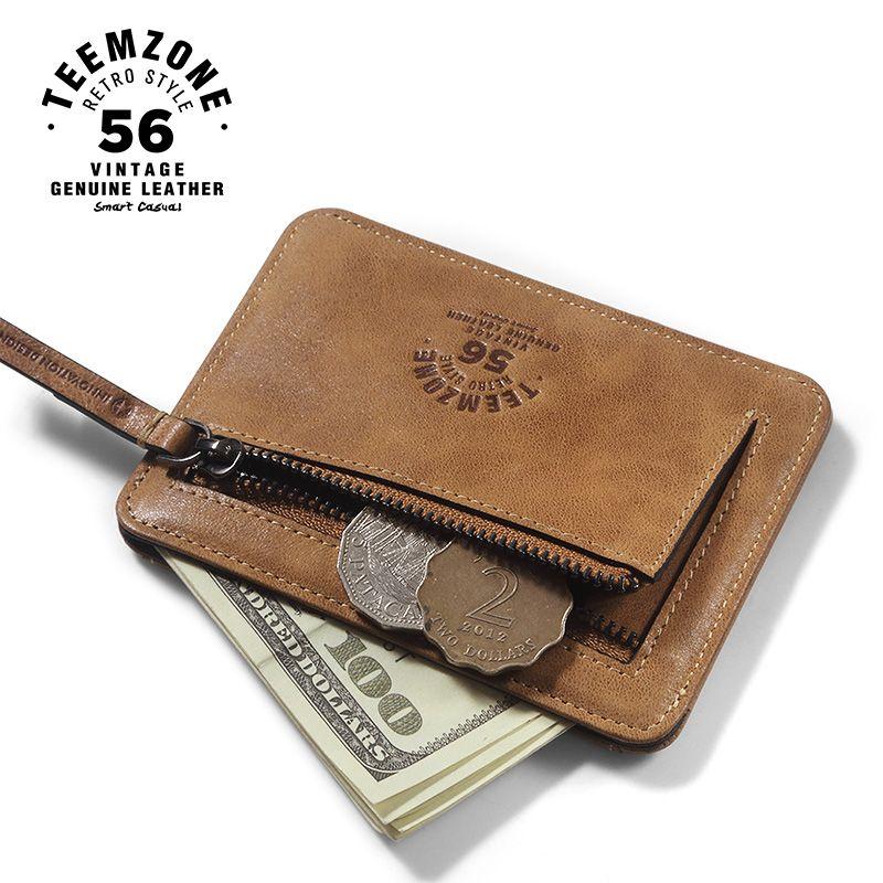 Teemzone unisex nuevo estilo hombres del cuero genuino de embrague carpeta de la moneda Simple ID Tarjeta de Crédito Titular de la Tarjeta Titular de La Moneda de 4 Colores K801