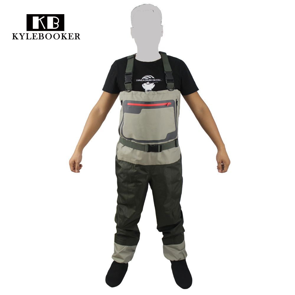 Men's Breathable Stocking foot Wader Light weight Convertible Chest Waders Wading Pants For Fly Fishing Hunting