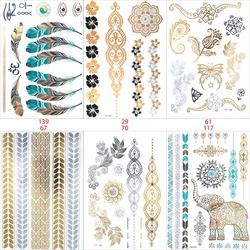 6 PCS/ lot temporary tattoo women gold tattoo flash tattoos transferable jewelry henna tatoo body taty product stickers tatto