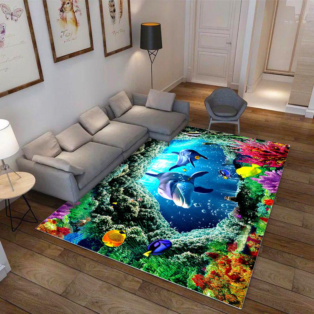 High Definition 3D cartoon printed soft anti-slip carpet rugs children's bedroom bed blanket polyester floor mat bedside blanket