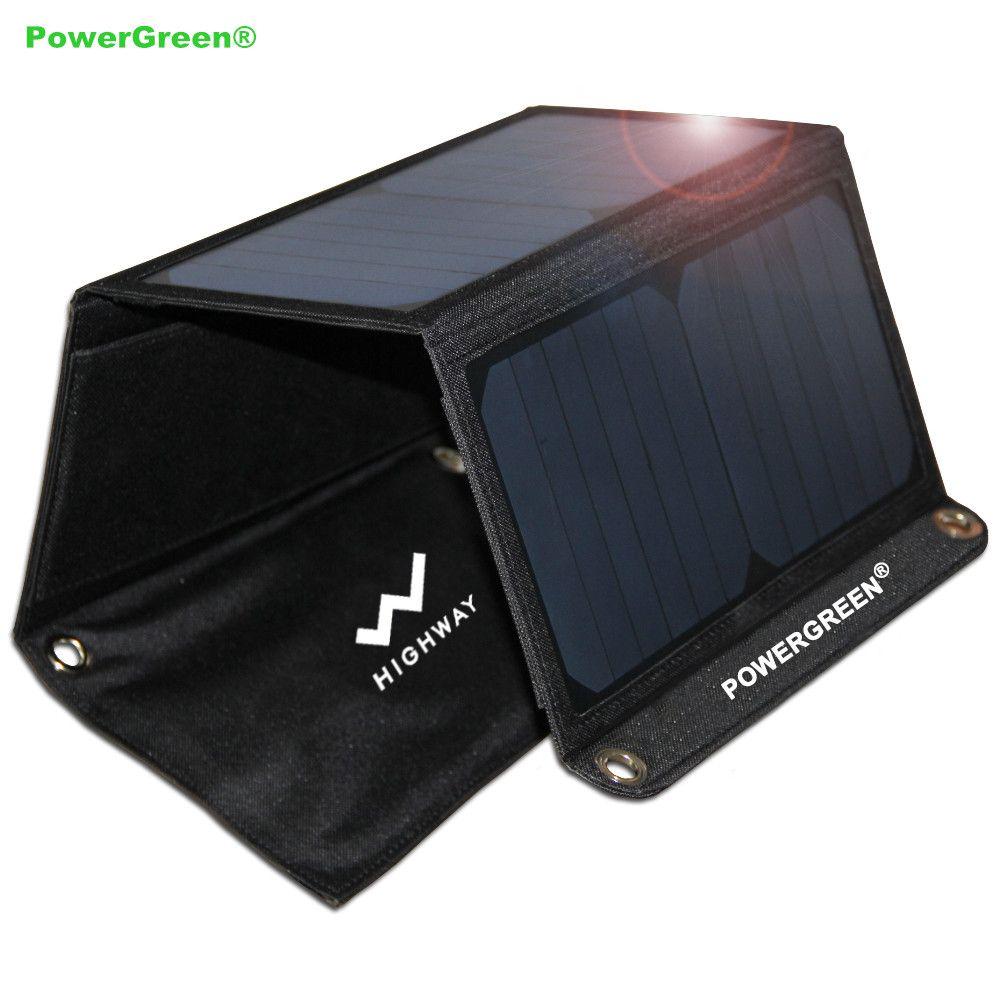PowerGreen Faltbare Handy Solar-ladegerät 21 W Tragbare 5 V 2A Solar Energienbank Externe Batterie für LG Handy