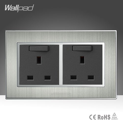 High Quality 146 Standard 13A Wall UK Switched Socket Panel Satin Metal Double 13A UK Wall Switch and Socket AC110-250V