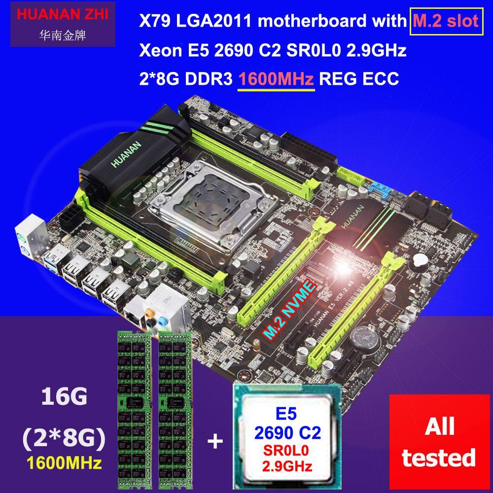 Discount motherboard HUANAN ZHI X79 motherboard with M.2 slot CPU Intel Xeon E5 2690 C2 2.9GHz memory 16G(2*8) DDR3 1600 REG ECC