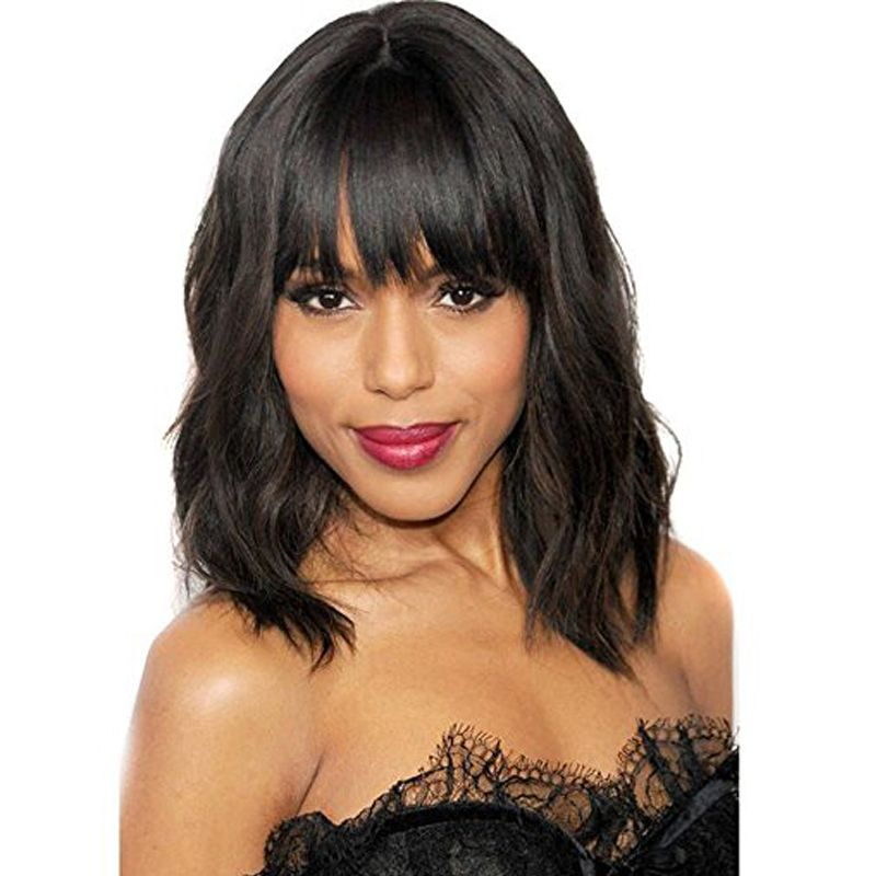 Deyngs Pixie Cut Synthetic Wigs With Bangs For Black Women Short Wavy Women's Hair Wigs Natural Heat Resistant Black Brown Color
