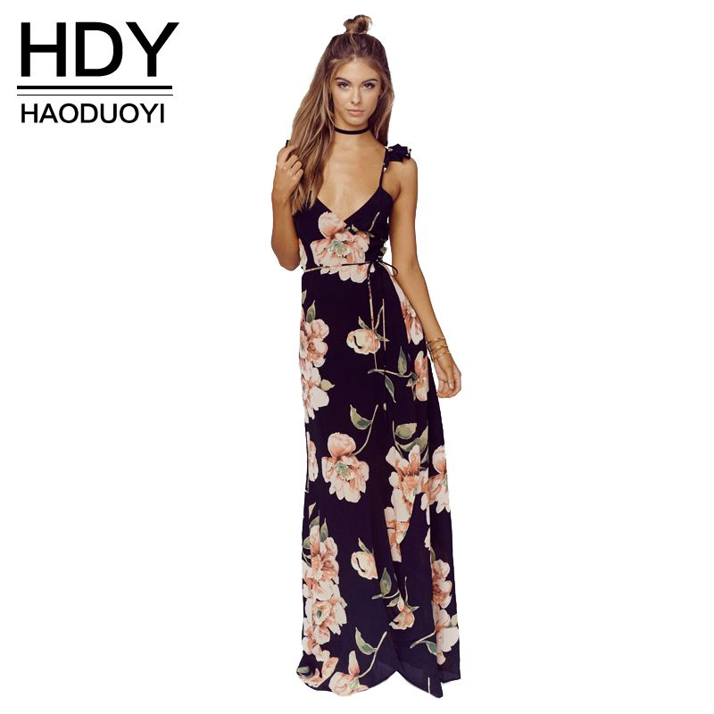 HDY Haoduoyi Floral Printed V Neck Sleeveless Maxi Dress Backless Split Hot Tie Waist Party Club Dress Casual Bohemian Dresses