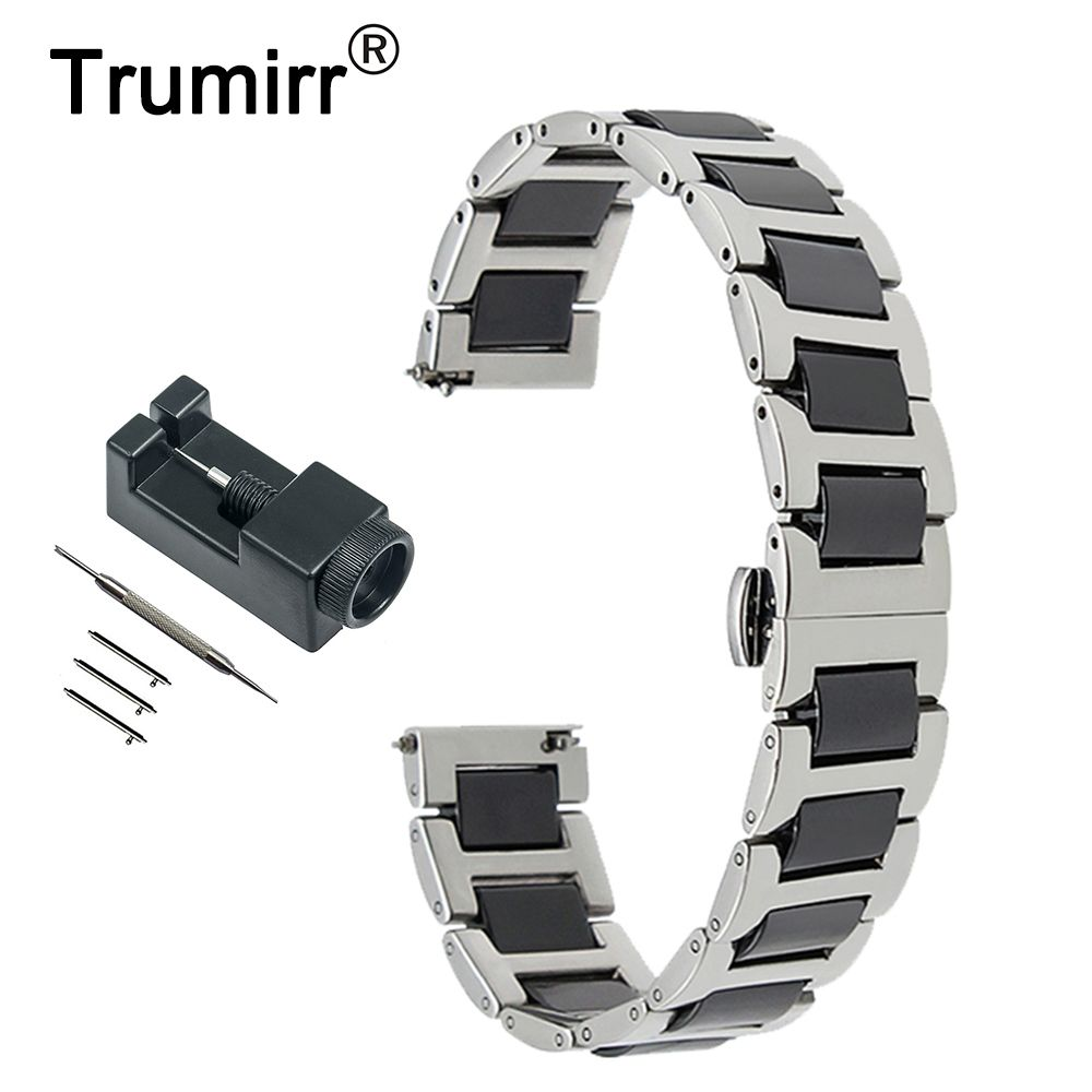 22mm Ceramic + Stainless Steel Watch Band for Vector Luna / Meridian, for Xiaomi Smartwatch Huami Amazfit Strap Wrist Bracelet