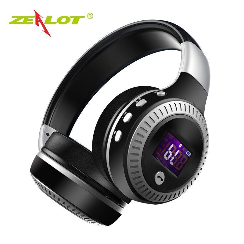 ZEALOT B19 Headphone LCD Display HiFi Bass Stereo Bluetooth Wireless Headset With Mic TF Card Slot Foldable Earphone Headphones