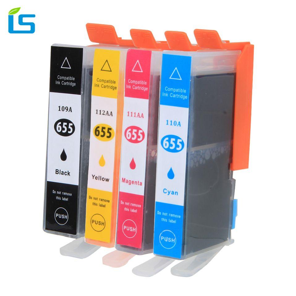 4 Pcs/ensemble Imprimante Cartouche D'encre pour HP 655 xl Cartouches D'encre 655XL pour HP Deskjet 3525 5525 4615 4625 4525 Imprimantes D'encre Fournitures