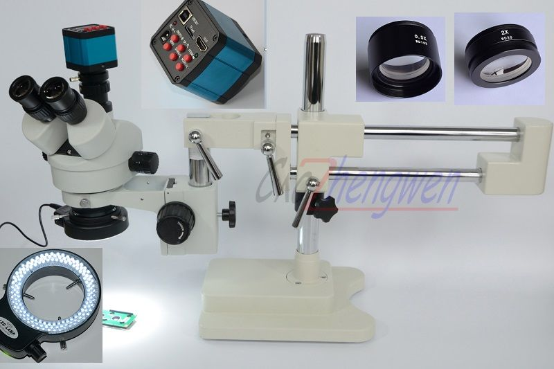 FYSCOPE Microscope Set 3.5X-90X Double Boom Stand Stereo Zoom Trinocular Standard Microscope+14MP HDMI Camera +144pcs Led Light