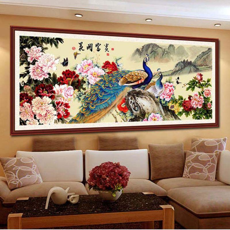 DIY 5D Full of Diamonds Embroidery Diamond Mosaic Peacock Peony rich flowers Peony Round Diamond Painting Cross Stitch Kits