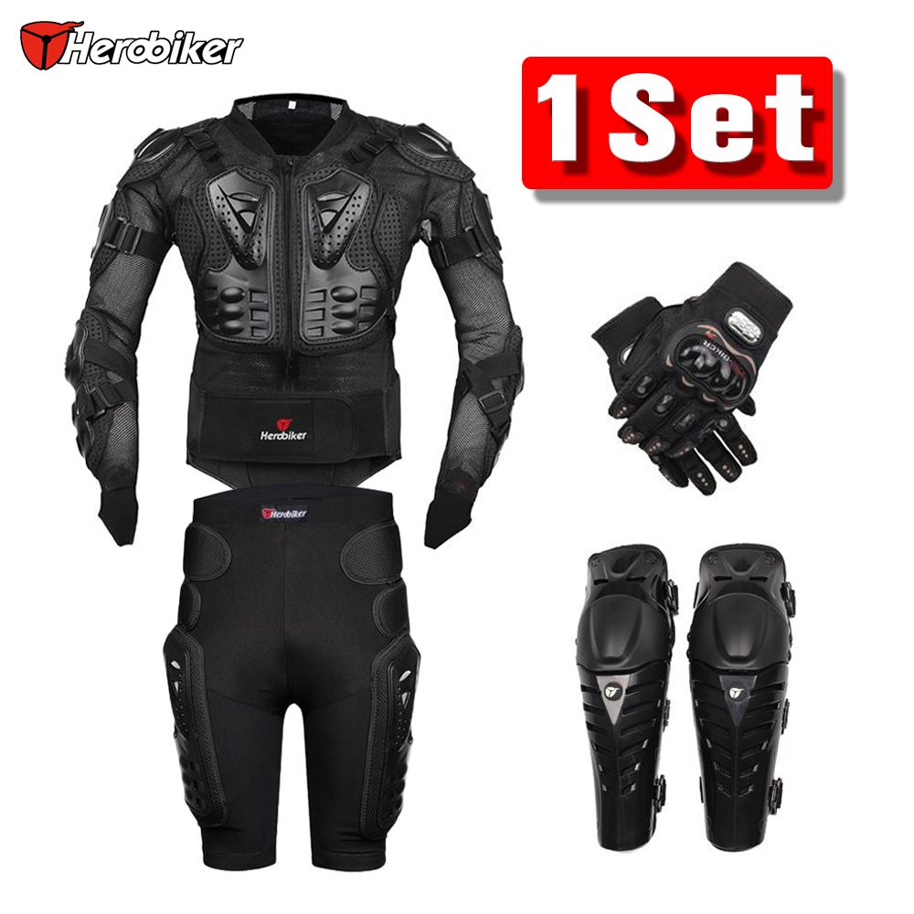 New Moto Motocross Racing Motorcycle Body Armor Protective Gear Motorcycle Jacket+Shorts Pants+Protection Knee Pads+Gloves Guard