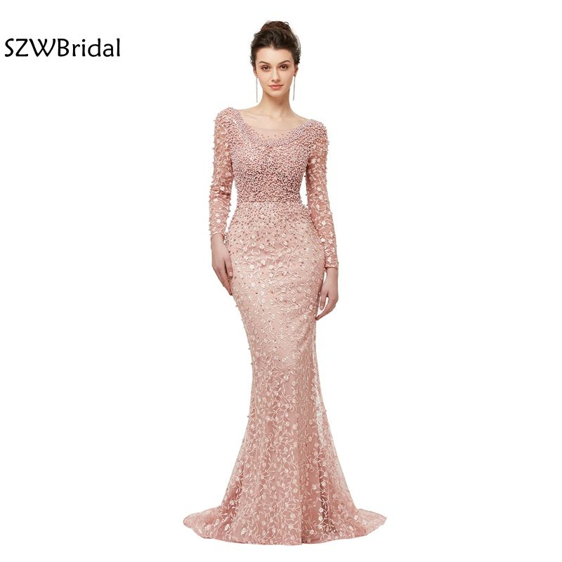 New Arrival Mermaid long evening dresses 2018 vestido Lace Beaded Evening gown abiye Abendkleider robe longue Formal dress