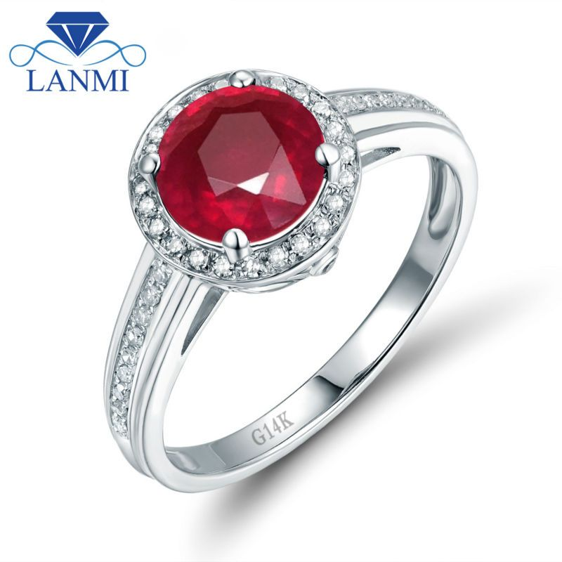 Elegant Design Solid 14K White Gold Real Diamond Natural Ruby Anniversary Ring for Party Jewelry WU302C