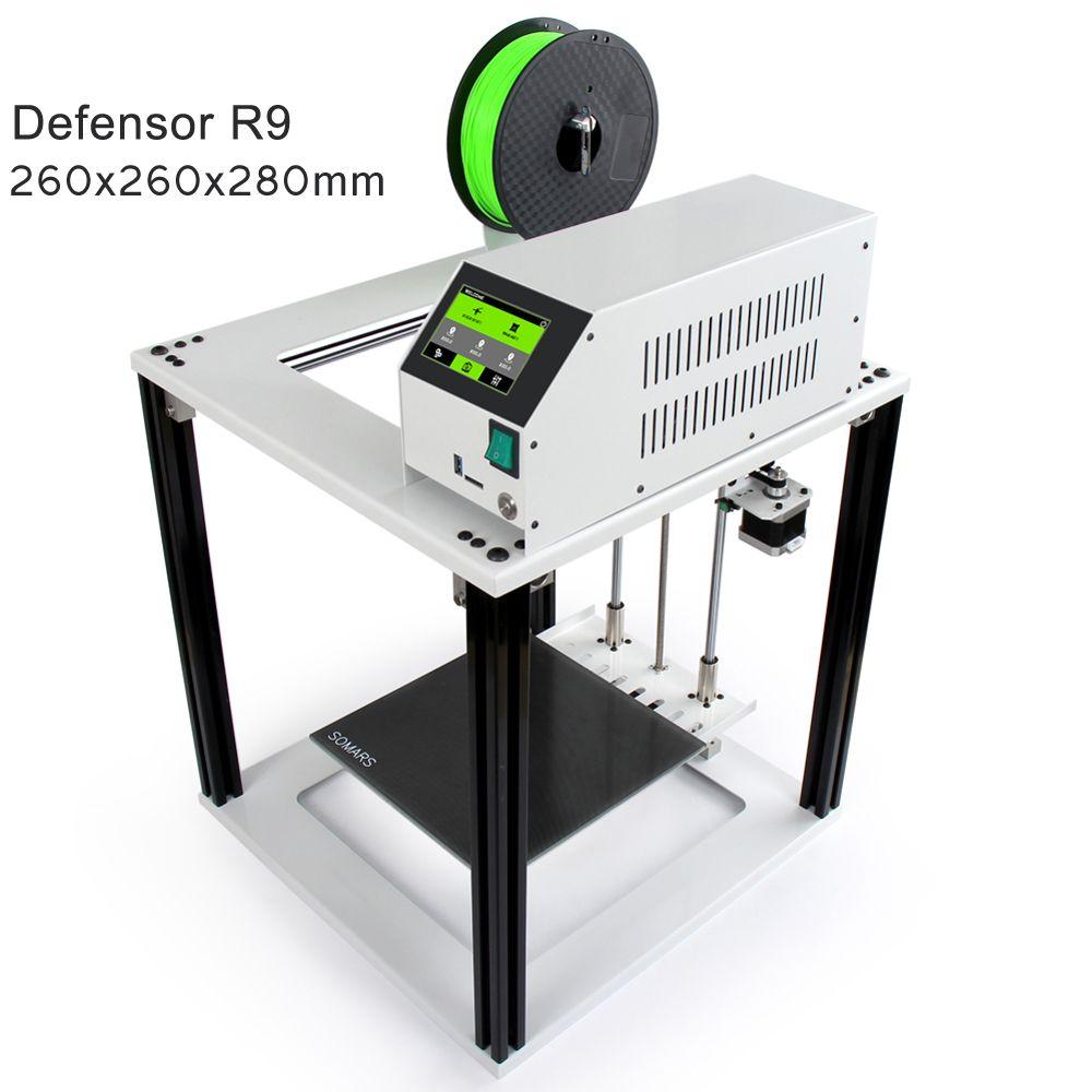 Touch Screen Easy 3D Printer Defensor R9 Large Size cube Full Metal Aluminum Frame Impresora 3 D DIY Kit for beginners