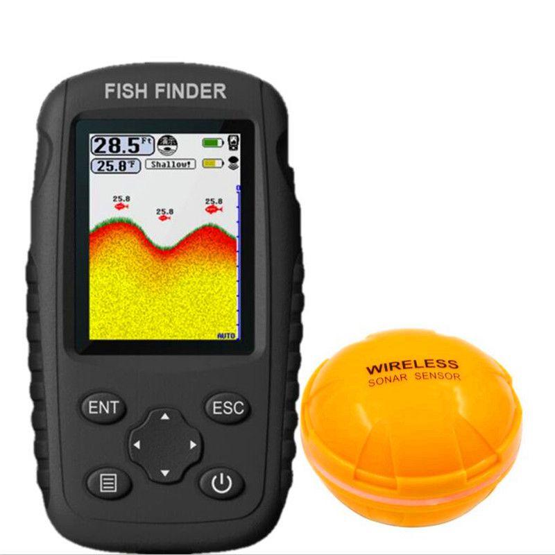 FFW718 détecteur de poisson mise à niveau FF998 menu russe Rechargeable étanche sans fil détecteur de poisson 125 kHz Sonar écho sondeur