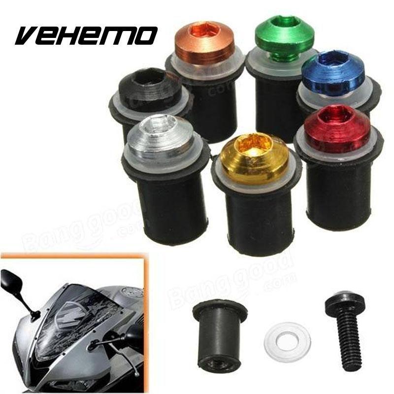 Vehemo 2017 10x Windscreen Bolts Kit Motorcycle Bike Windshield Mounting Nuts