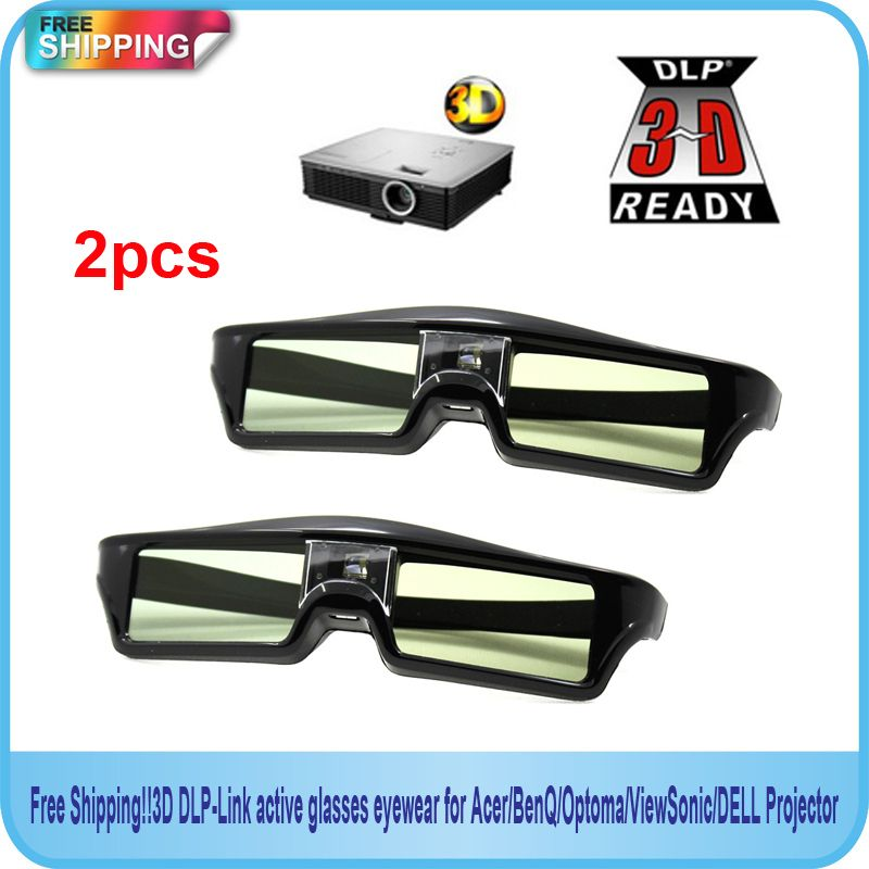 Free Shipping!! 2014new  2pcs  144Hz 3D IR Active Shutter Glasses For BenQ W1070 W700 W710ST DLP-Link Projector